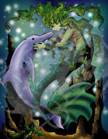 Mermaid and Dolphin Colored by DragonPress