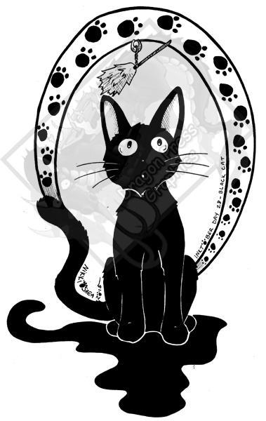 Inktober Day 28 - Black Cat (Gigi!) by DragonPress