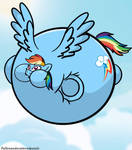 Mane 6 inflation - Rainbow Dash  by fallenandscattered
