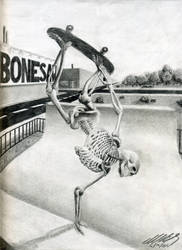 Skeleton Action Drawing by MikeBailey1979