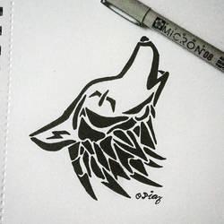 Tribal Wolf by livdiaz8
