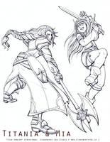Lineart - Mia and Titania by Meibatsu