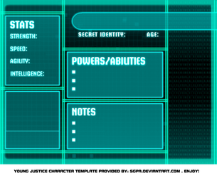 Young Justice bios template by Meibatsu
