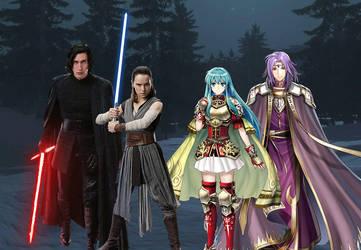 Rey x Ben Solo and Eirika x Lyon by alienskiller1