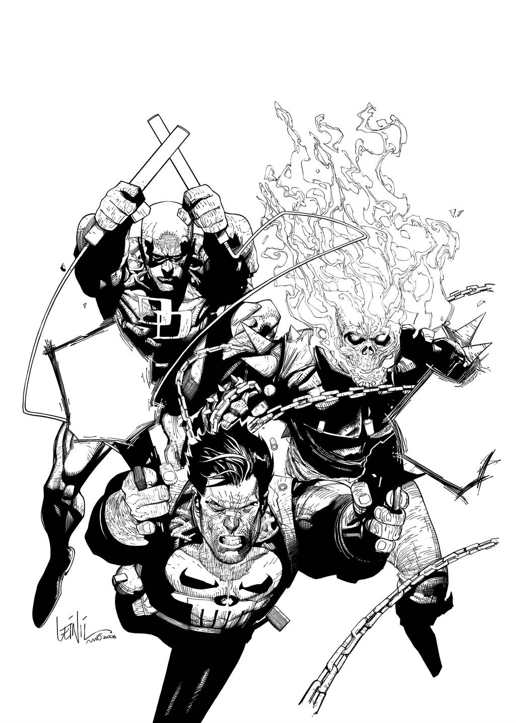 Leinil Comicbox cover inked by BerolEagle