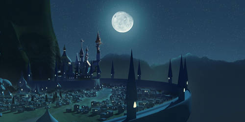 Luna's Determination: Canterlot at night by MintyRoot
