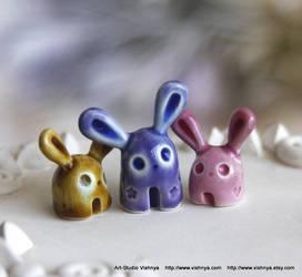 3 Tiny Spring Bunnies by vavaleff