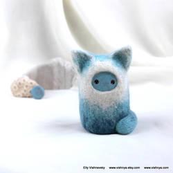 Needle felt  Blue Kitten by vavaleff