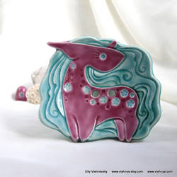 Pink-Turquoise Unicorn (Soap Dish - Wall picture) by vavaleff
