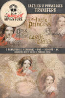 5 Castles+Princesses Transfers in 2 versions by Whimsical-Adventure