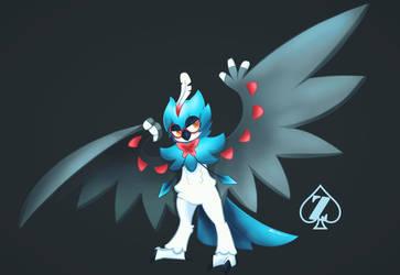 Shiny Decidueye pokemon fan art by Zeoncat