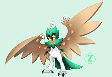 Decidueye pokemon fan art by Zeoncat
