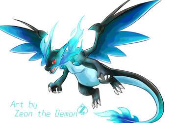 Mega Charizard X pokemon fan art by Zeoncat