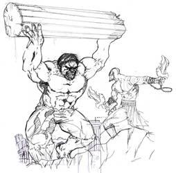 Hulk VS. Kratos by zenlang