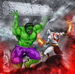Hulk SMASH Kratos by zenlang