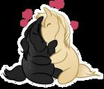 Ichiro and Carwen snuggle by DragonsFlameMagic