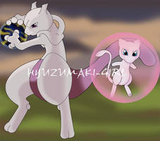 Mewtwo and Mew by Hyuzumaki-Girl