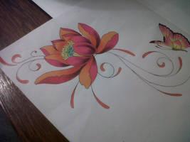 lotus swirl tattoo design by tattoosuzette