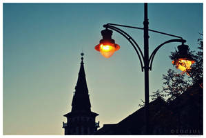 Street lamp and tower by LuciusThePope