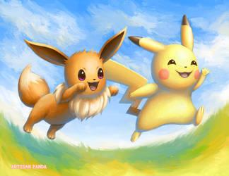 Eevee and Pikachu by artisanpanda
