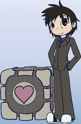 Dr Who and the Companion Cube by ChocolateMochi