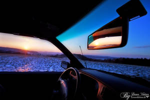 Sundown from the car by LinsenSchuss