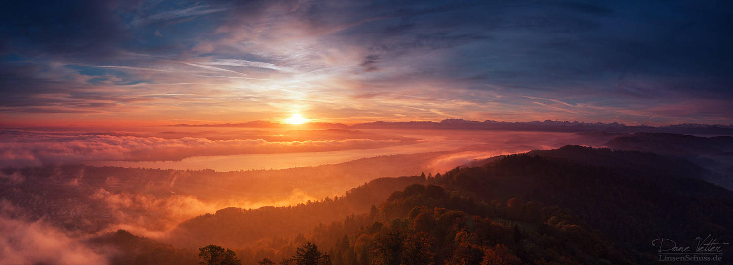 Autumn Sunrise over Zurich by LinsenSchuss