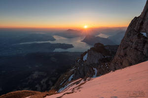 Sunrise on Mount Pilatus by LinsenSchuss