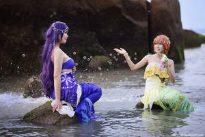 Love Live - Nozomi + Rin mermaid by vaxzone