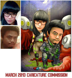 March 2013 Caricature Commission : Alien Attack? by thenerdyogre
