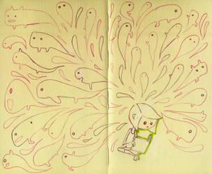 Girl reading book sketch by CeliaPanda