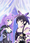 Tohka and Neptune 'Pretty Future' by ryokudou