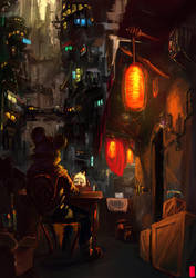 Dinner in the City by GatoDelCielo