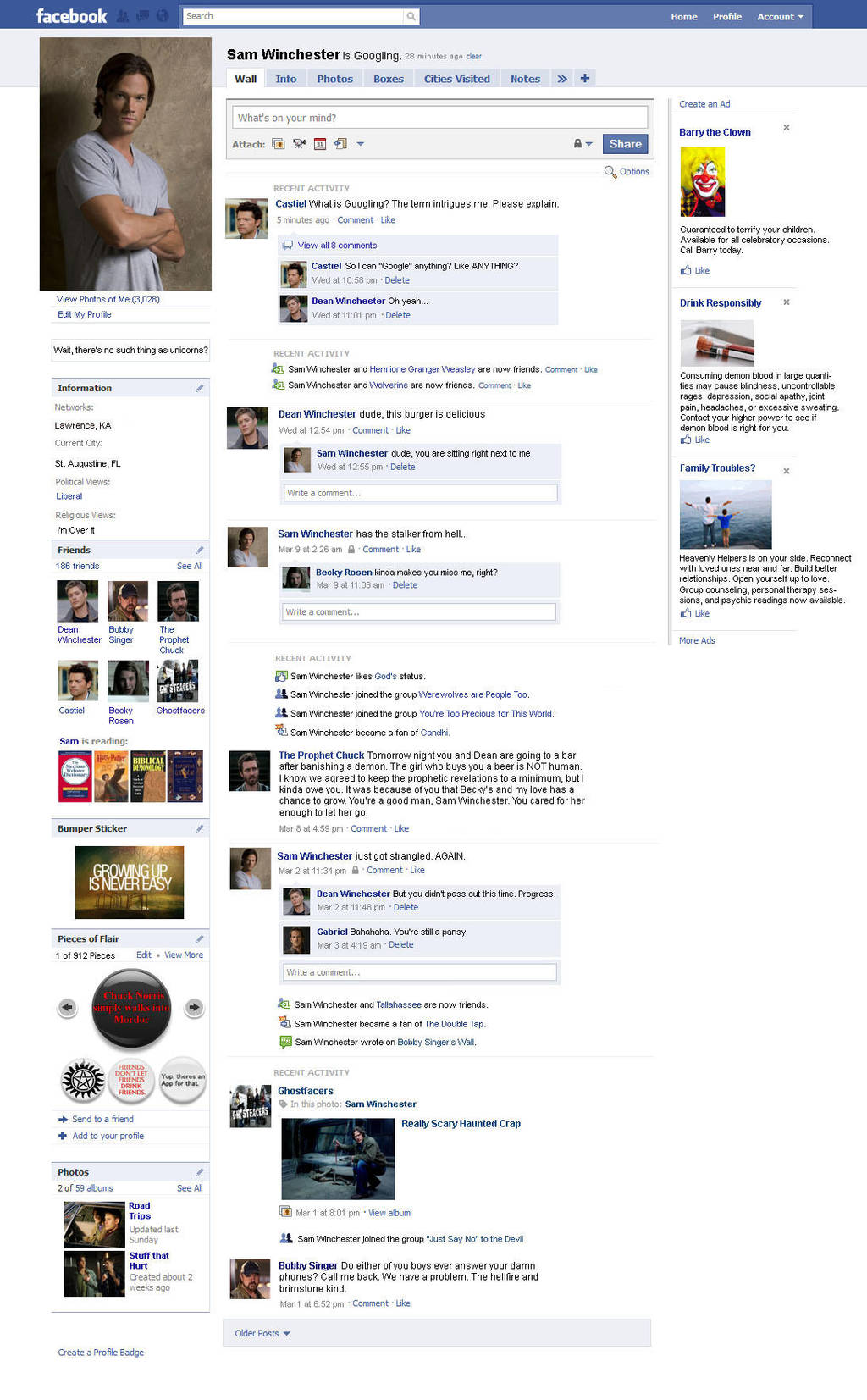 Sam's Facebook Page by kiles85