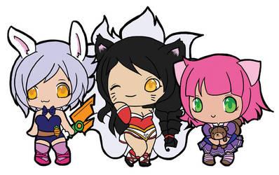 Riven, Ahri, Annie by littleredren