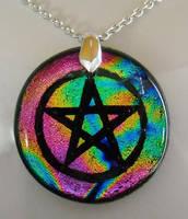 Rainbow Pentacle Pendant by HoneyCatJewelry