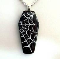 Spiderweb Coffin Pendant by HoneyCatJewelry