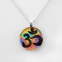 Rainbow Fused Dichroic Glass Om Pendant by HoneyCatJewelry