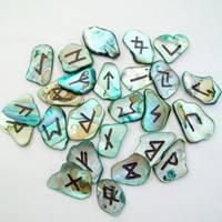 Elder Futhark Abalone Shells Runeset by HoneyCatJewelry