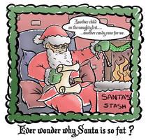 Fat Santa Christmas Card by Iddstar