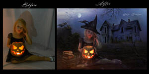 The Little Halloween Witch before after by ektapinki