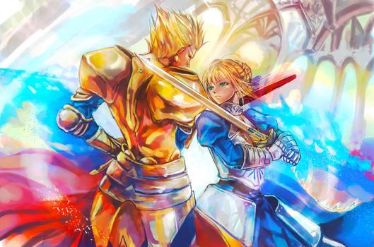 Fate zero - Gilgamesh and Saber by MsViVid
