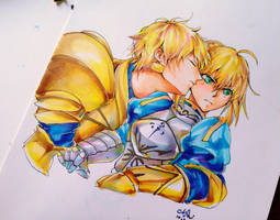 fate - Gil x Saber by MsViVid