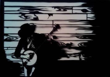 Banjo player paper cut by EllaBaras