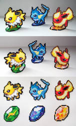 Eeveelutions Set with Evolution Stone Stands by NerdyNoodleLabs