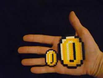 Perler Mini beads: Super Mario World coin by monochrome-GS