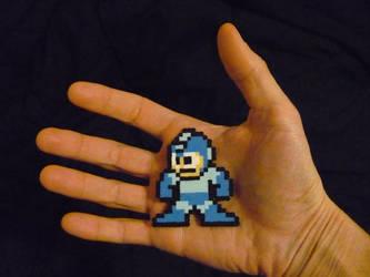 Perler Mini beads: Mega Man by monochrome-GS