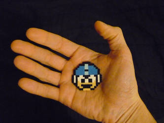 Perler Mini Beads: Mega Man Extra Life by monochrome-GS