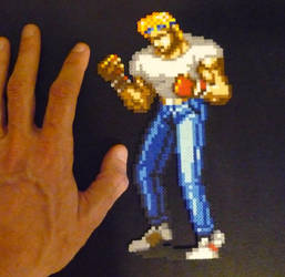 Perler Mini beads: Streets of Rage 2 Axel by monochrome-GS