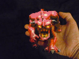 DOOM Pink Demon Mini Perler sprite by monochrome-GS